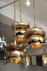 Brass Lotus Blossom Chandelier image 4