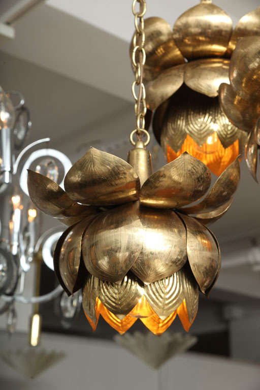 Mid-20th Century Brass Lotus Blossom Chandelier For Sale