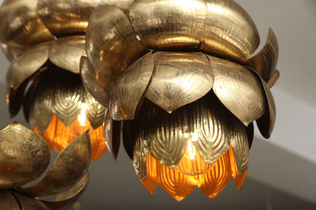Brass Lotus Blossom Chandelier For Sale 1