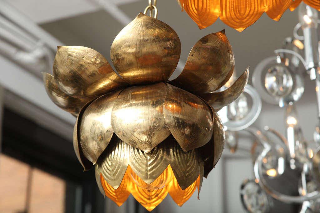 Brass Lotus Blossom Chandelier For Sale 3