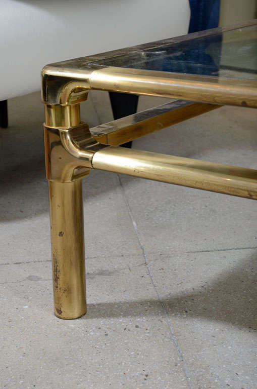 Cocktail Table Brass And Glass 40 Square X 15 High Ca 1965 At 1stdibs