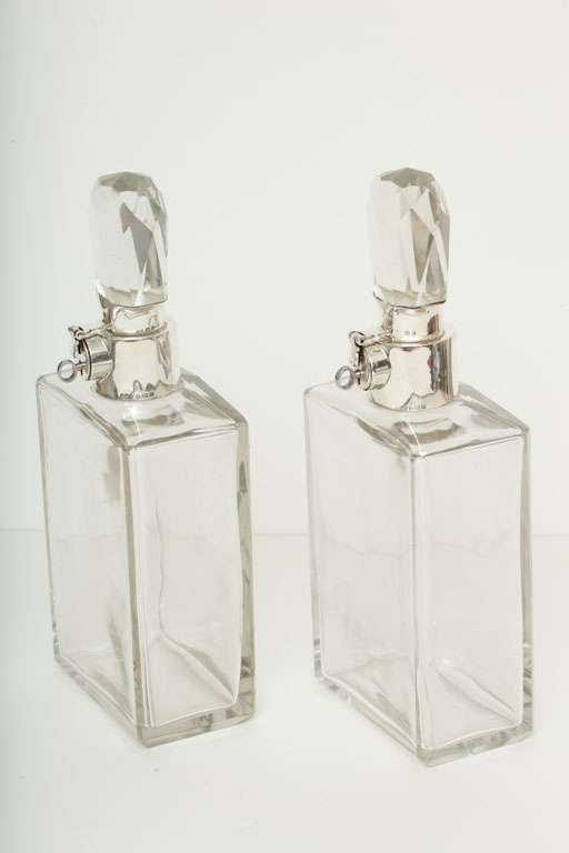 Rare Pair of Large Art Deco Locking Decanters by Hukin & Heath 2