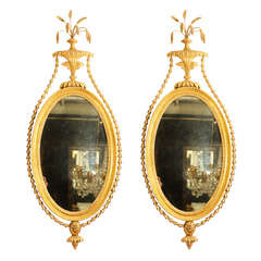 Fine Pair of Hepplewhite Oval Mirrors