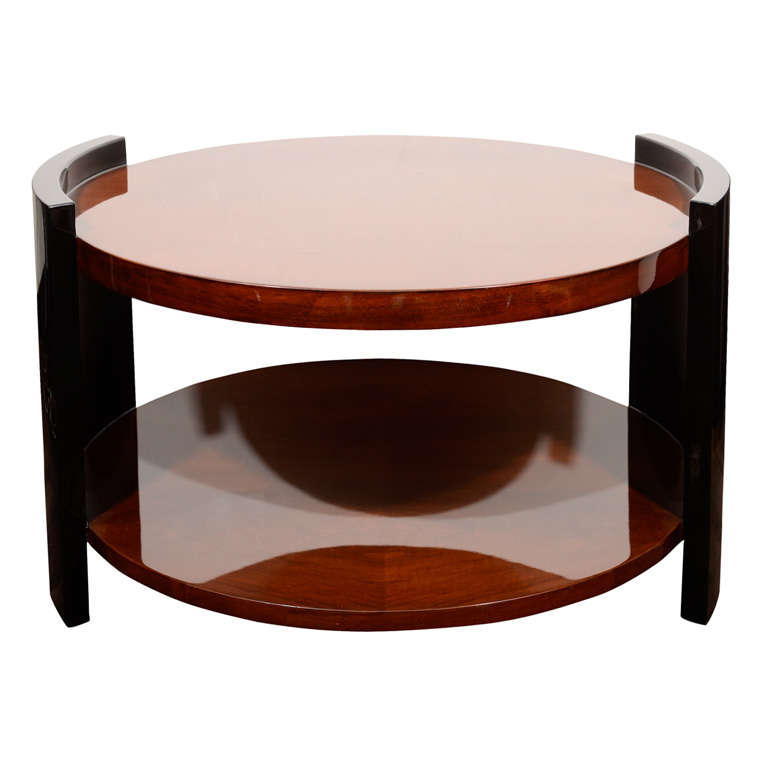 1930's Art Deco Two Tier Round Occasional or Cocktail Table 1