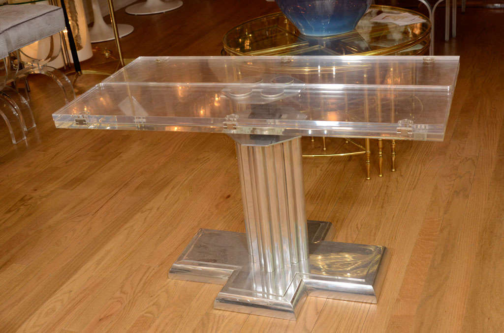 Chrome coffee table with adjustable height and lucite top for Cocktail tables parts