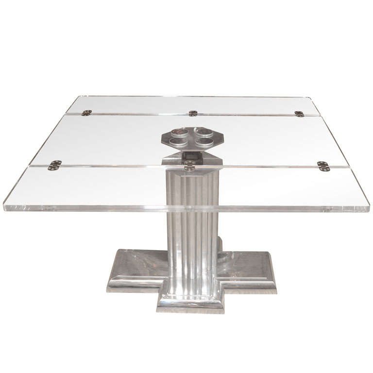 Chrome Coffee Table With Adjustable Height And Lucite Top