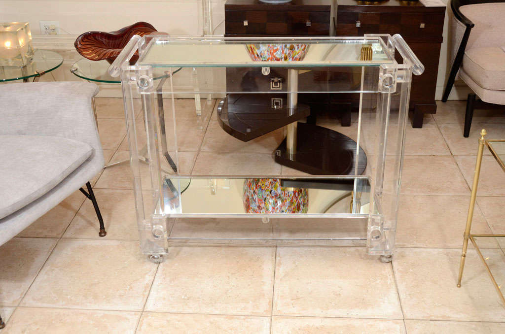 Lucite Rolling Cart Featuring Two Mirrored Shelves At 1stdibs