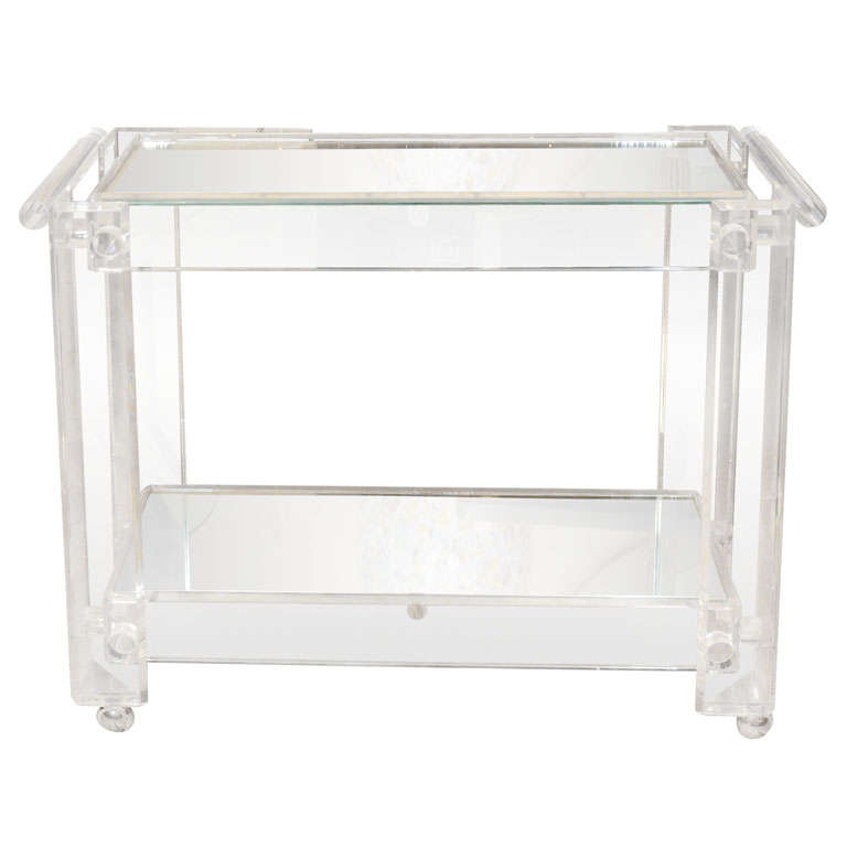lucite rolling cart featuring two mirrored shelves at 1stdibs. Black Bedroom Furniture Sets. Home Design Ideas