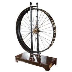 1880s French Painted Metal Spoked Wheel on Stand