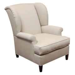 """""""Worrell"""" by Lee Stanton English Wing Chair in Belgian Linen or Custom Fabric"""