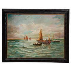 Seascape Oil Painting, Circa 1900