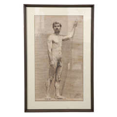 Charcoal of a Nude by Landini, Circa 1908