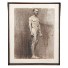 Custom Modern Framed Charcoal Male Nude Drawing by Artist Landini, Italy 1908