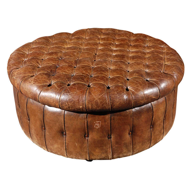 English Round Leather Ottoman Circa 1880 At 1stdibs