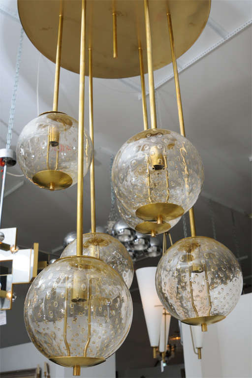 Glass bubble light chandelier chandelier designs large italian brass and glass bubble light fixture at 1stdibs aloadofball Choice Image