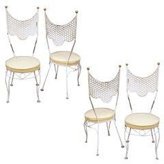 Set of 4 Salterini 1950's Circus Style Draped Metal Chairs