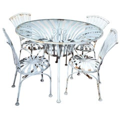 Vintage Set of Four Spring Chairs and Round Table