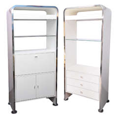 1970s White Shelving Cabinet Units