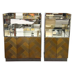 Mirrored, Chrome and Herring Bone Brass Pattern Cabinets by Ello