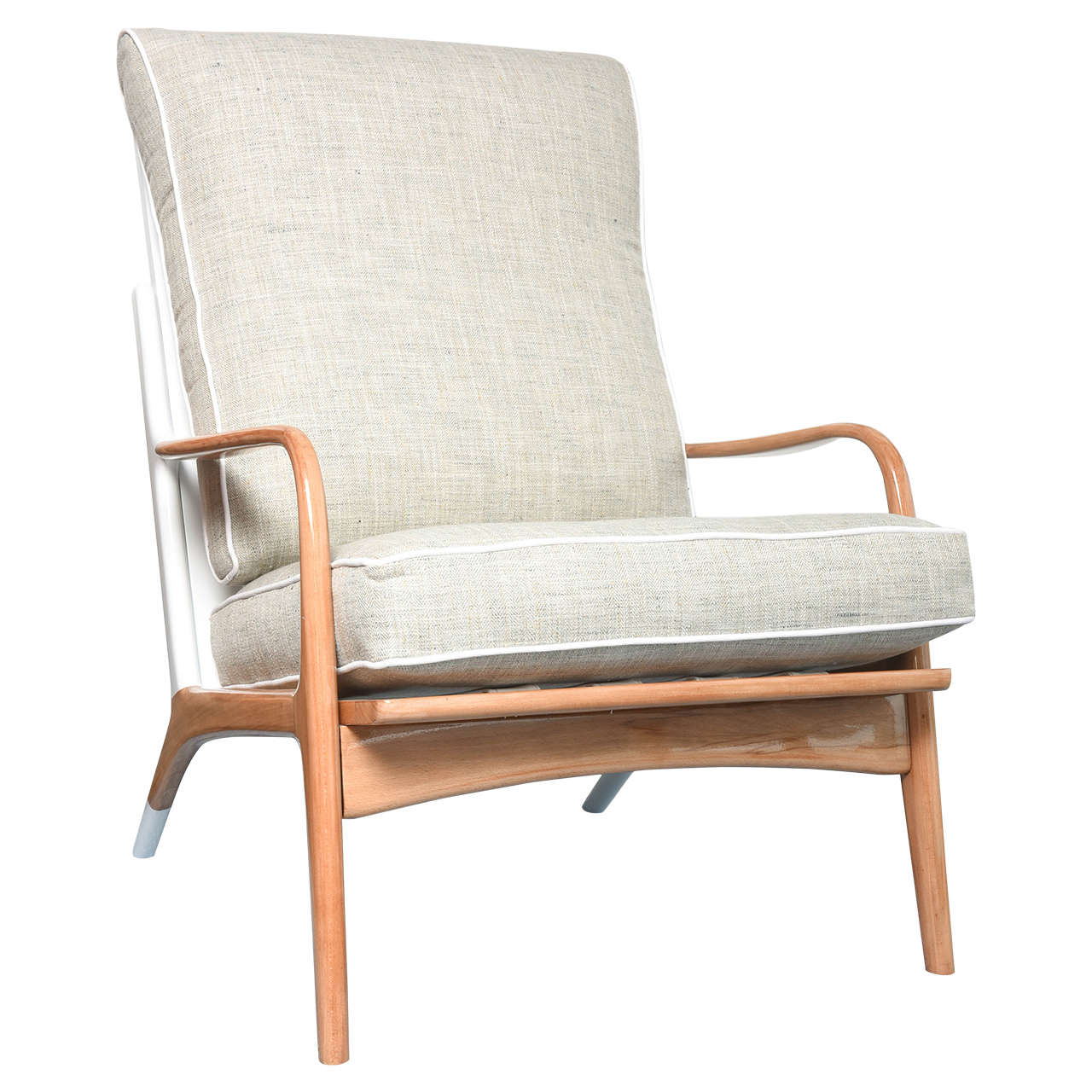 Mid-Century White And Wood Lounge Chair For Sale At 1stdibs