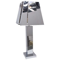 Curtis Jere Sculptural Chrome Table Lamp with Chrome Shade, USA 1976 Signed