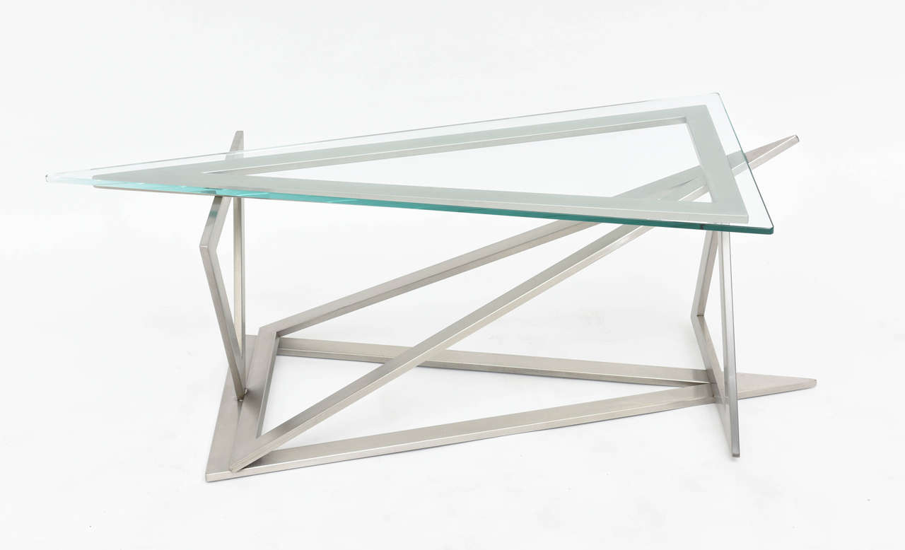 Italian Modern Stainless Steel and Glass Table Attributed to Giovanni Offredi 2