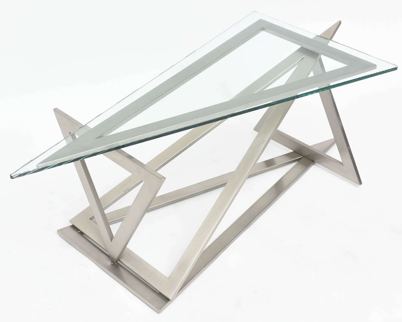 Italian Modern Stainless Steel and Glass Table Attributed to Giovanni Offredi 3