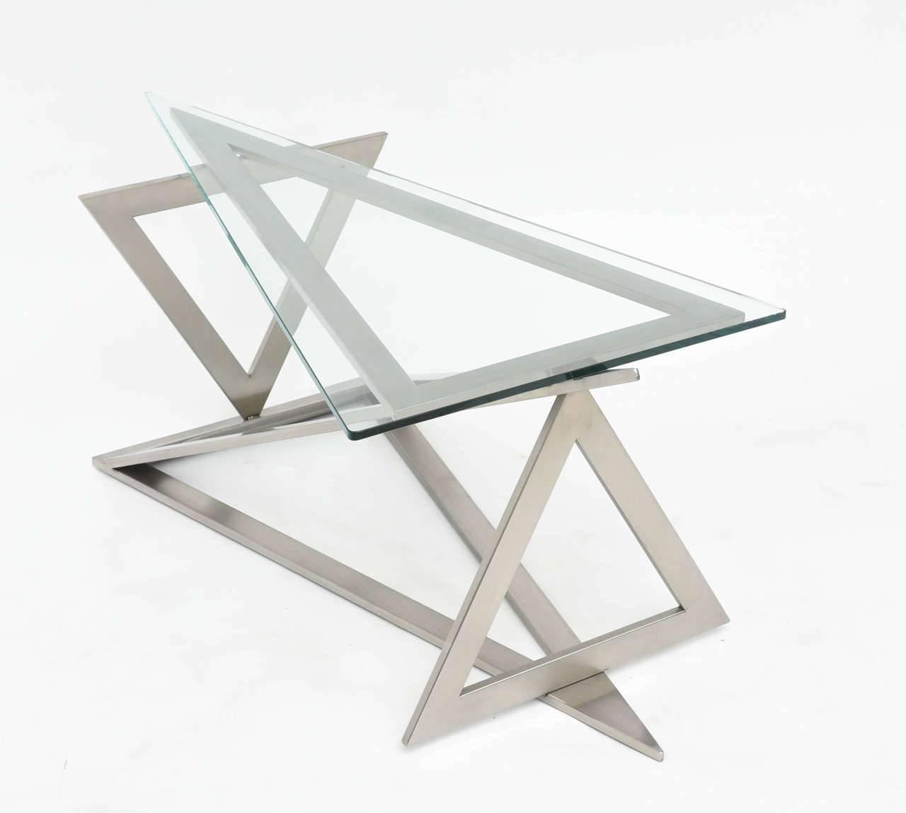 Artimeta Attributed Square Metal And Glass Coffee Table At: Italian Modern Stainless Steel And Glass Table Attributed