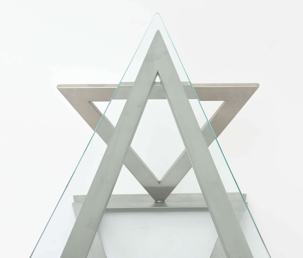 Italian Modern Stainless Steel and Glass Table Attributed to Giovanni Offredi 5