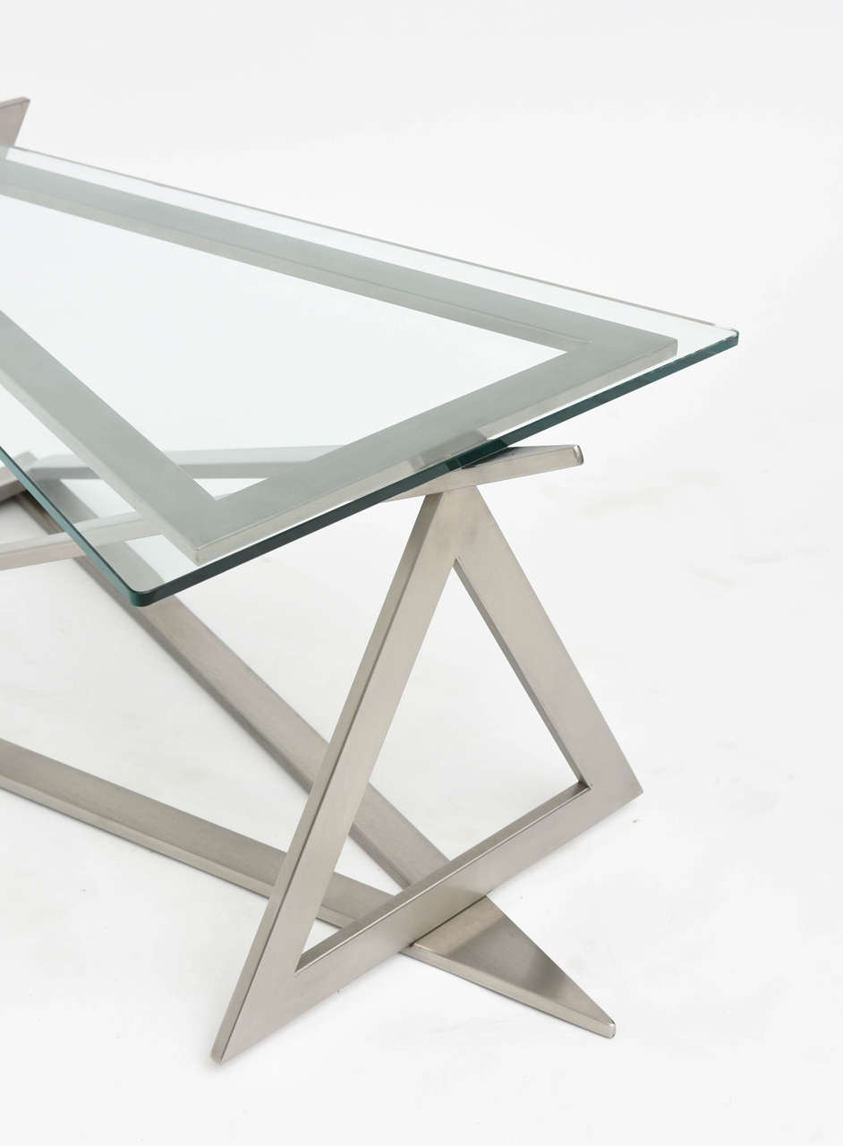 Italian Modern Stainless Steel and Glass Table Attributed to Giovanni Offredi 6