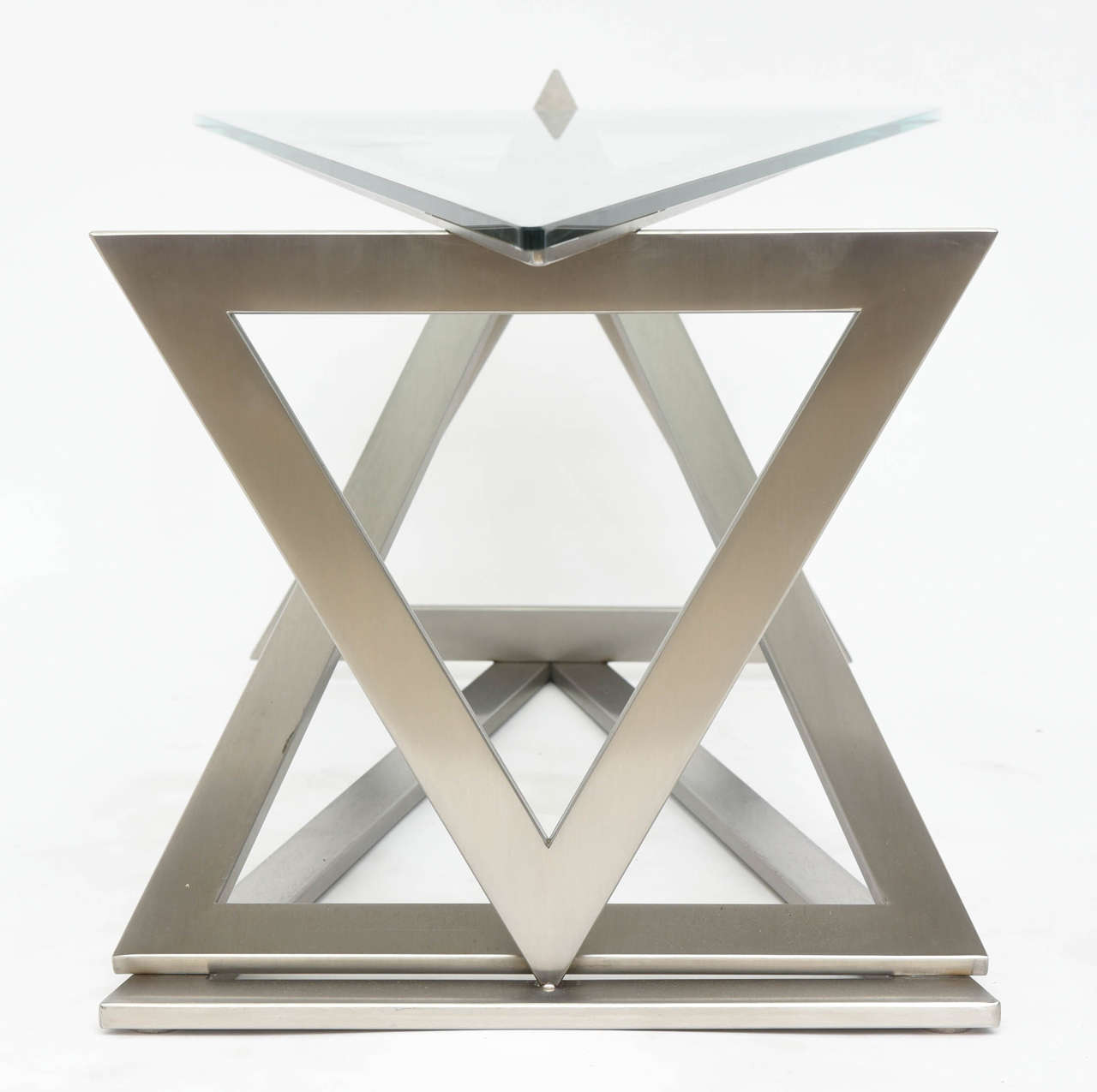 Italian Modern Stainless Steel and Glass Table Attributed to Giovanni Offredi 8