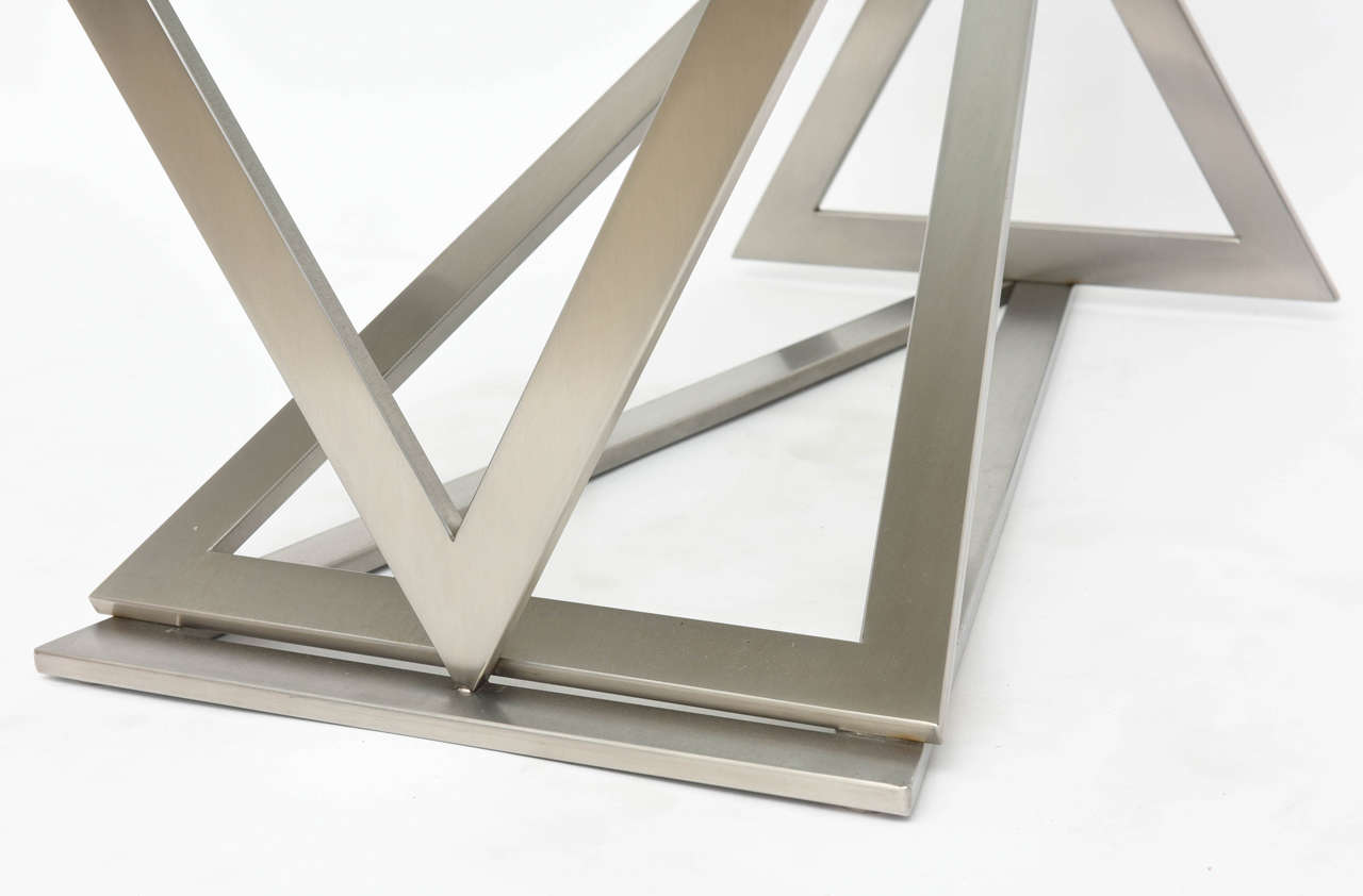 Italian Modern Stainless Steel and Glass Table Attributed to Giovanni Offredi 9