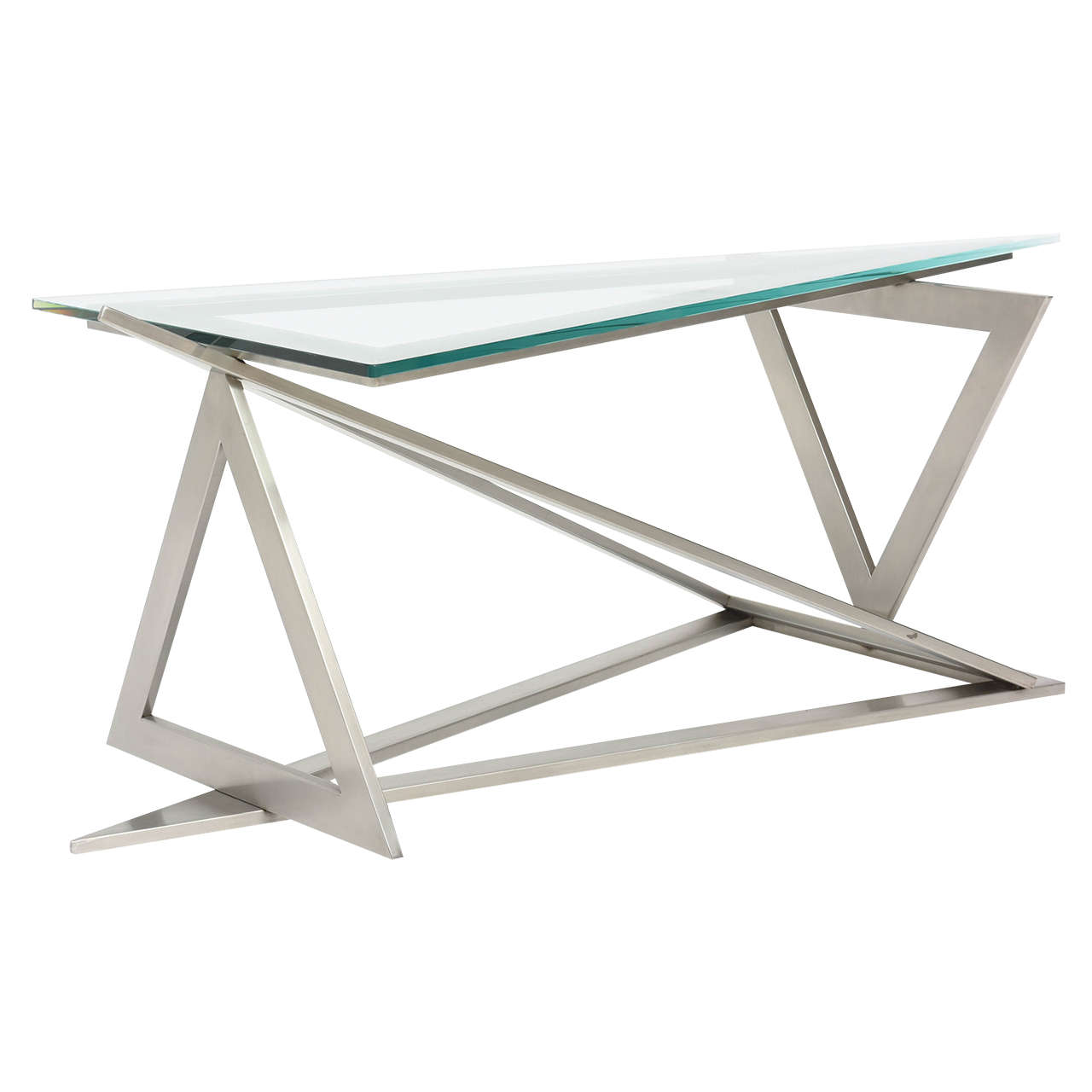 Attractive Italian Modern Stainless Steel And Glass Table Attributed To Giovanni  Offredi For Sale