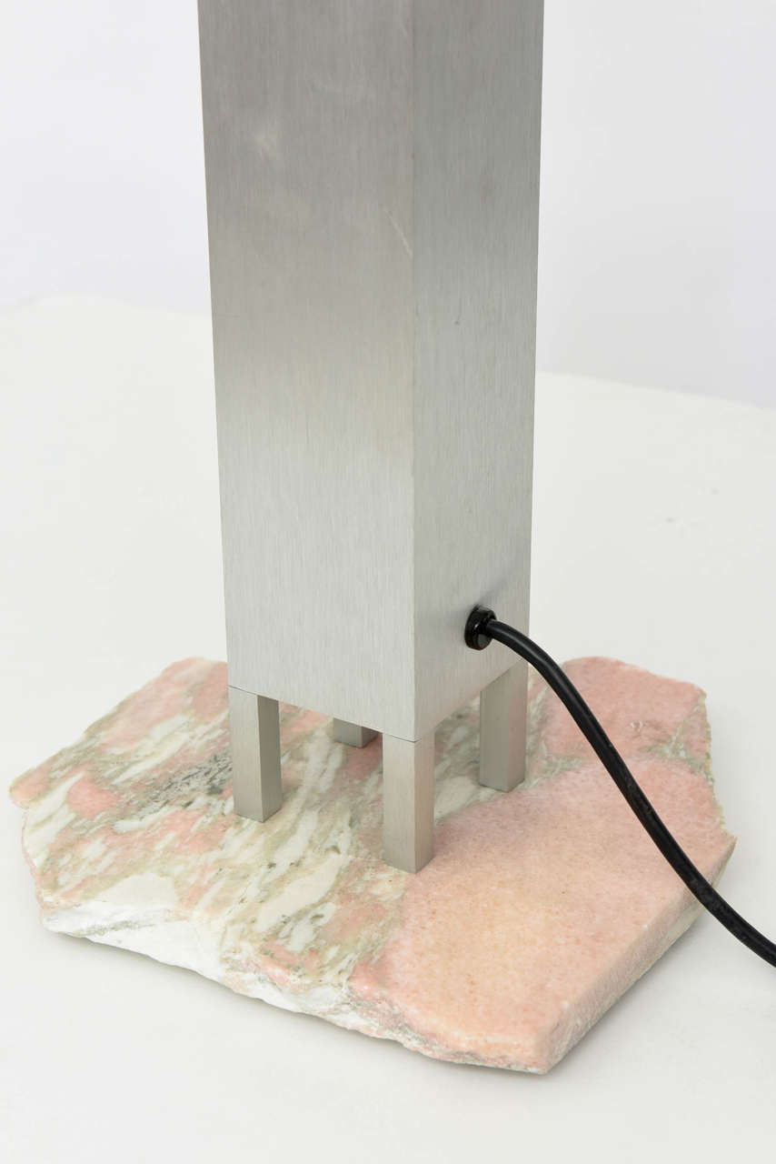 "Italian ""Memphis"" Stainless, Marble and Glass Lamp, Attributed to E. Sottsass For Sale 1"