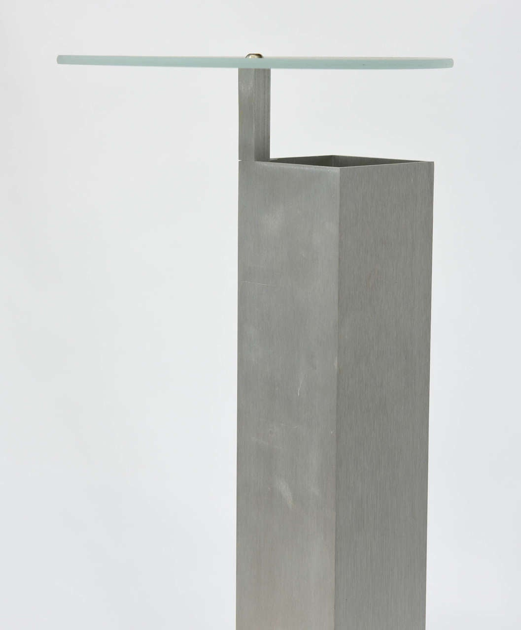 "Italian ""Memphis"" Stainless, Marble and Glass Lamp, Attributed to E. Sottsass For Sale 2"