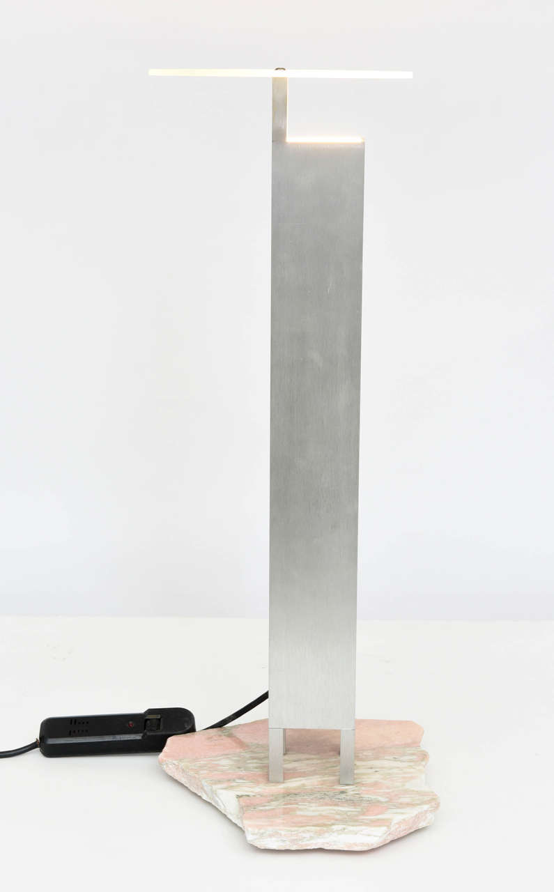 "Italian ""Memphis"" Stainless, Marble and Glass Lamp, Attributed to E. Sottsass For Sale 3"