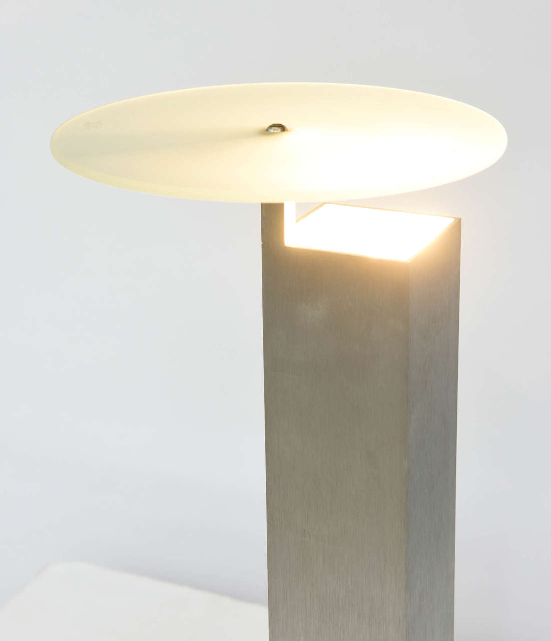 "Italian ""Memphis"" Stainless, Marble and Glass Lamp, Attributed to E. Sottsass For Sale 4"
