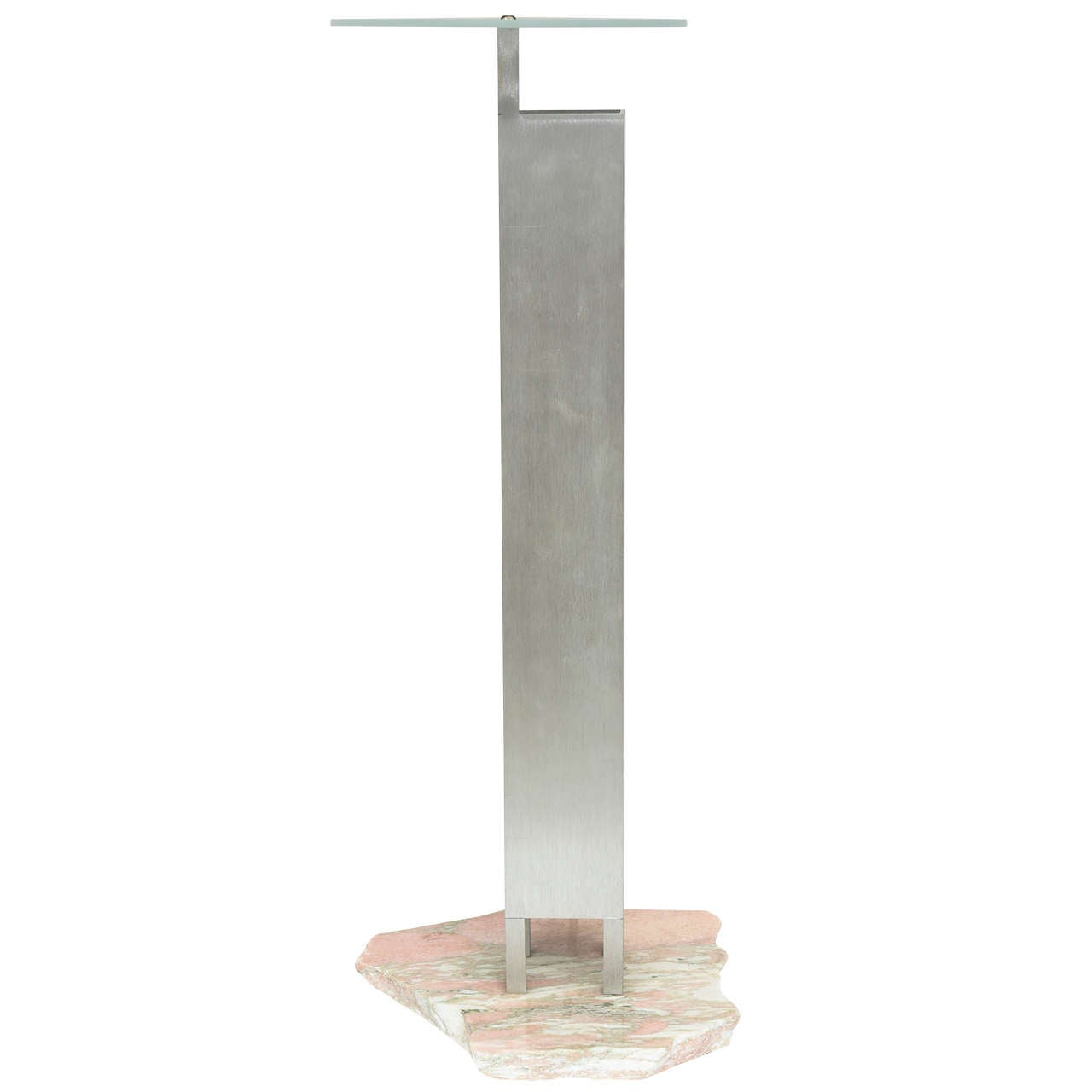 "Italian ""Memphis"" Stainless, Marble and Glass Lamp, Attributed to E. Sottsass For Sale"