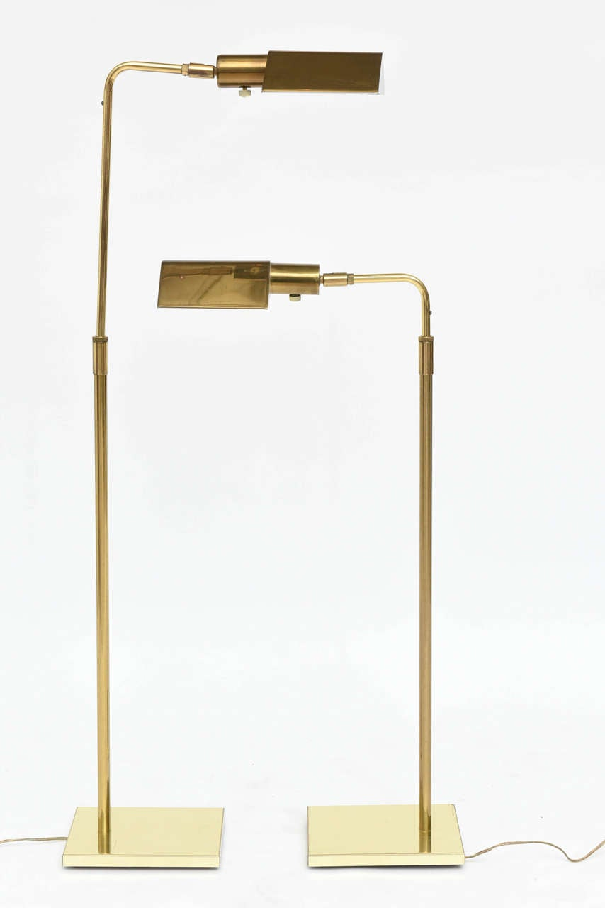 American Pair of Brass Adjustable Pharmacy Floor Lamps in the Style of Cedric Hartman For Sale