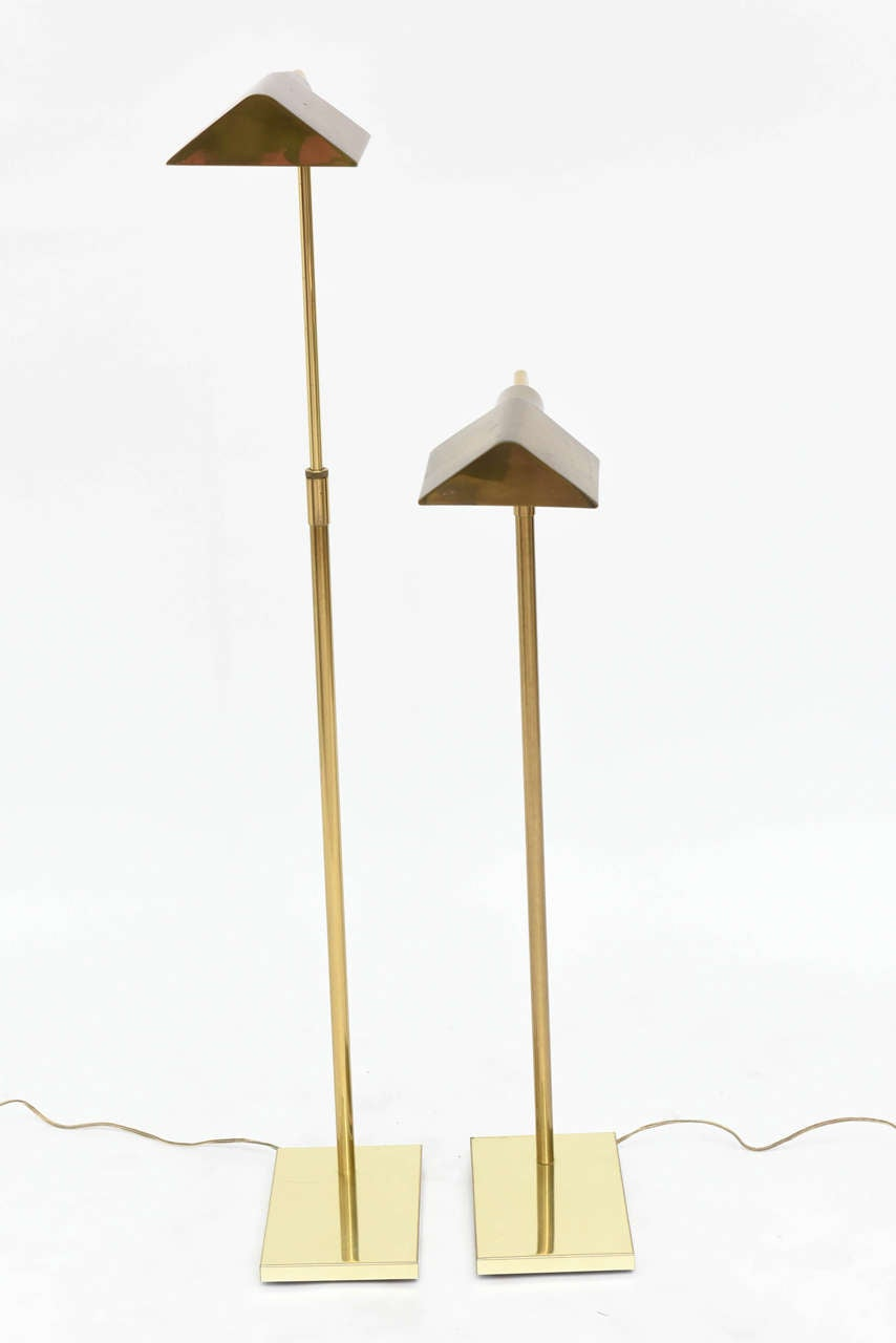 Late 20th Century Pair of Brass Adjustable Pharmacy Floor Lamps in the Style of Cedric Hartman For Sale