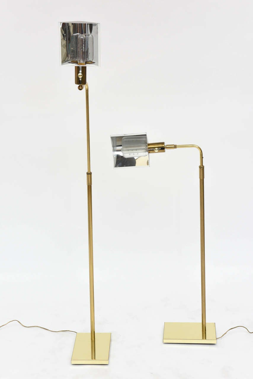 Pair of Brass Adjustable Pharmacy Floor Lamps in the Style of Cedric Hartman For Sale 2