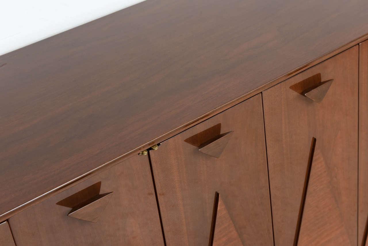 Modern Dark Wood Credenza : Italian modern walnut sideboard or buffet credenza in the style