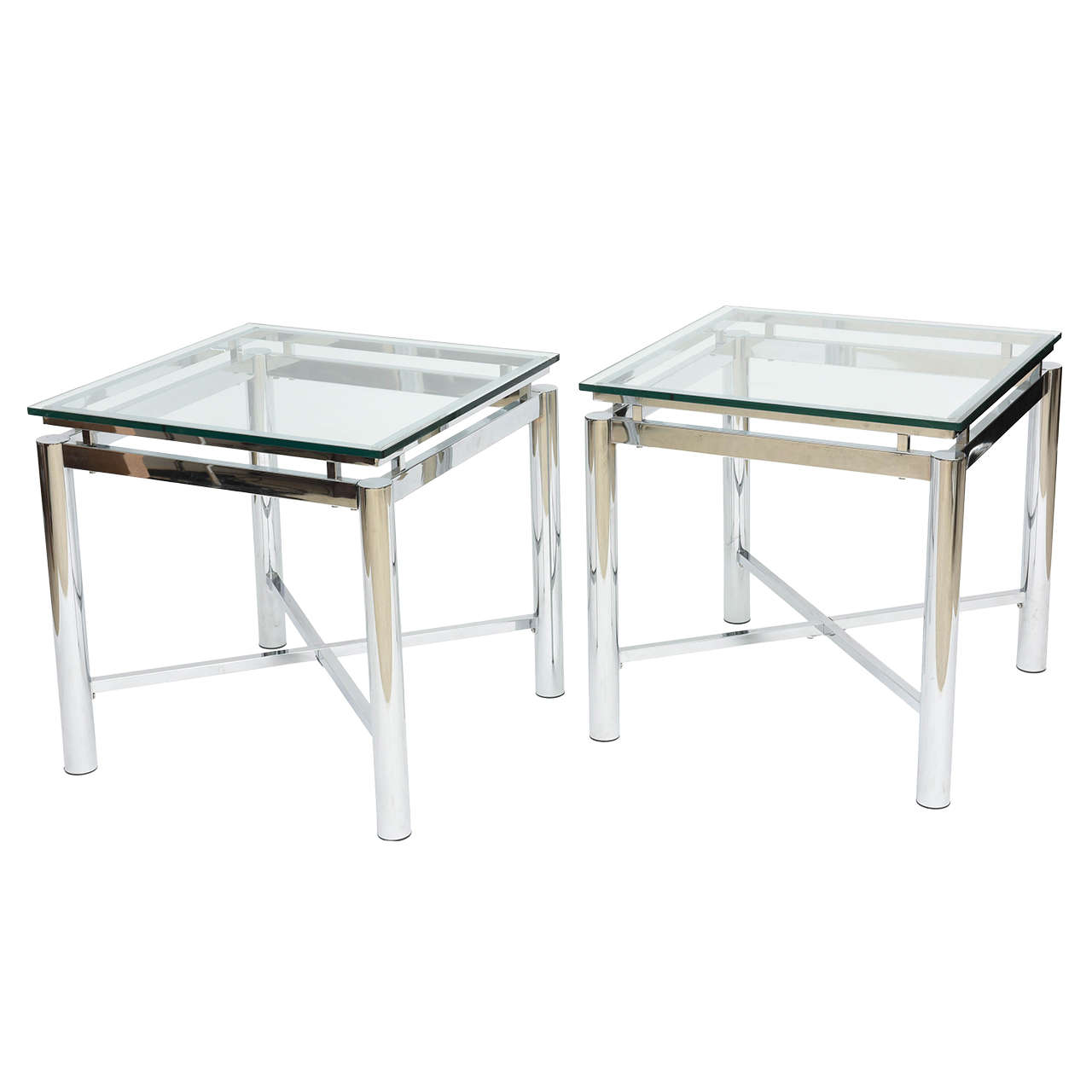 Pair of American Modern Chrome and Glass Tables, DIA