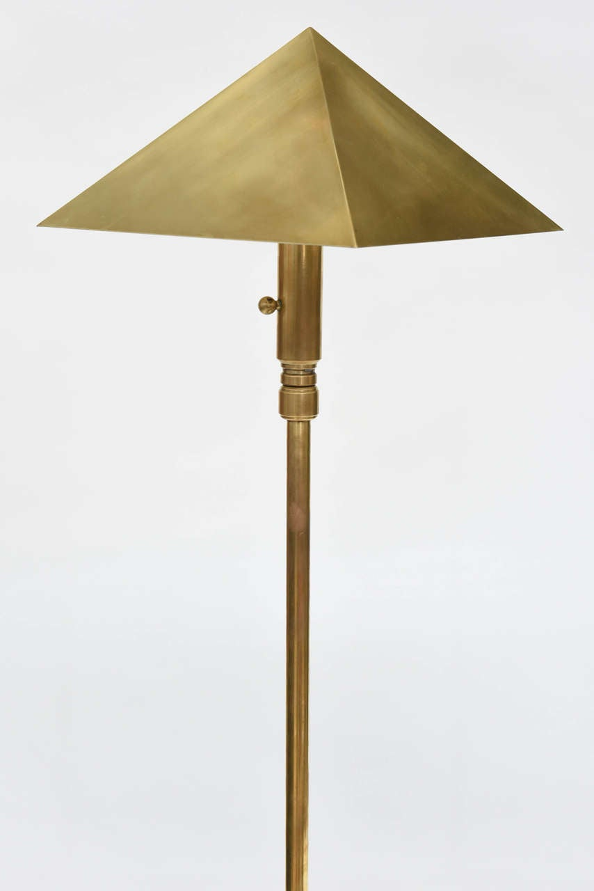 Mid-Century Modern American Pair of Brass Adjustable Table or Floor Lamps, Chapman For Sale