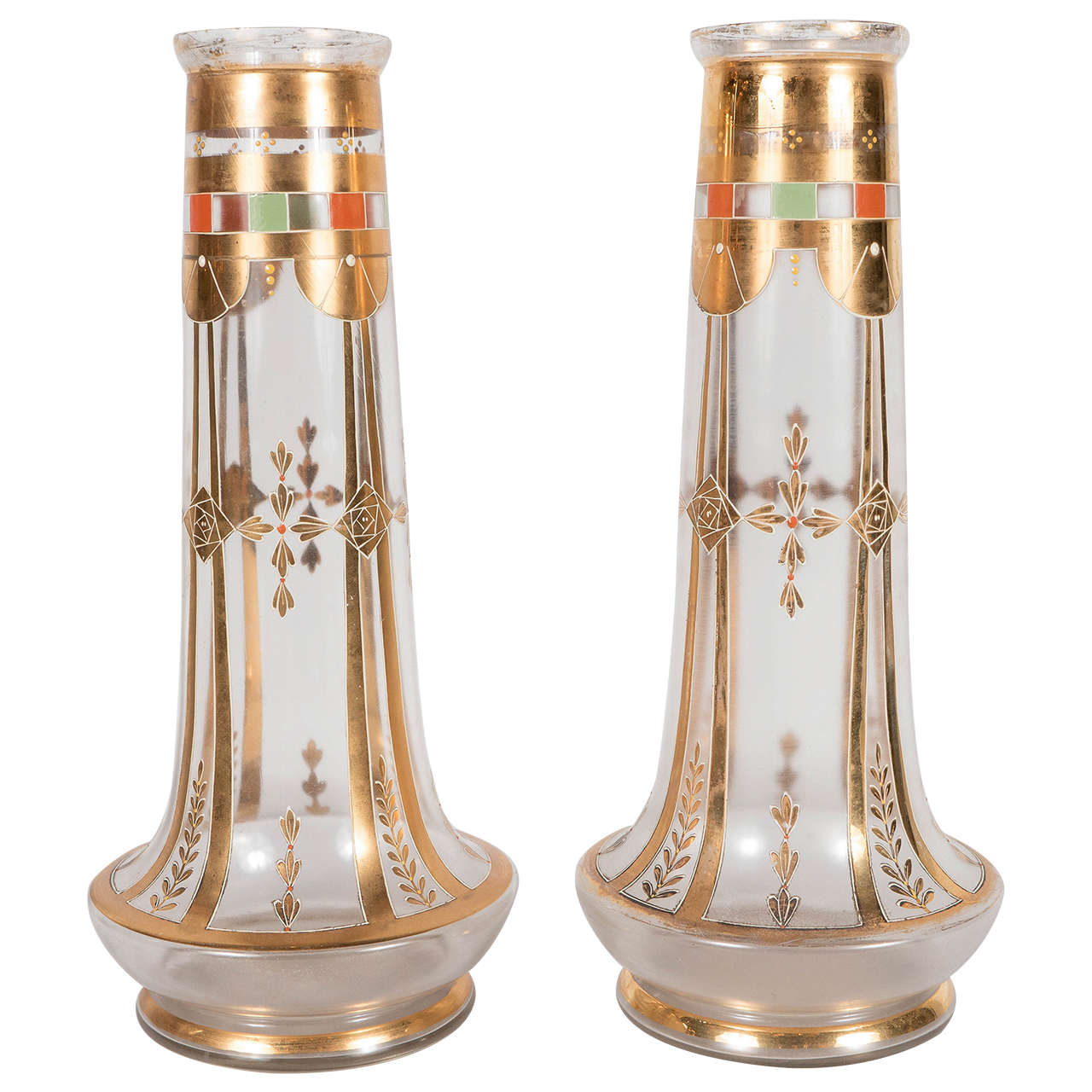 Exquisite Pair of Art Deco Glass Vases with 24-Karat Gold Relief Decoration