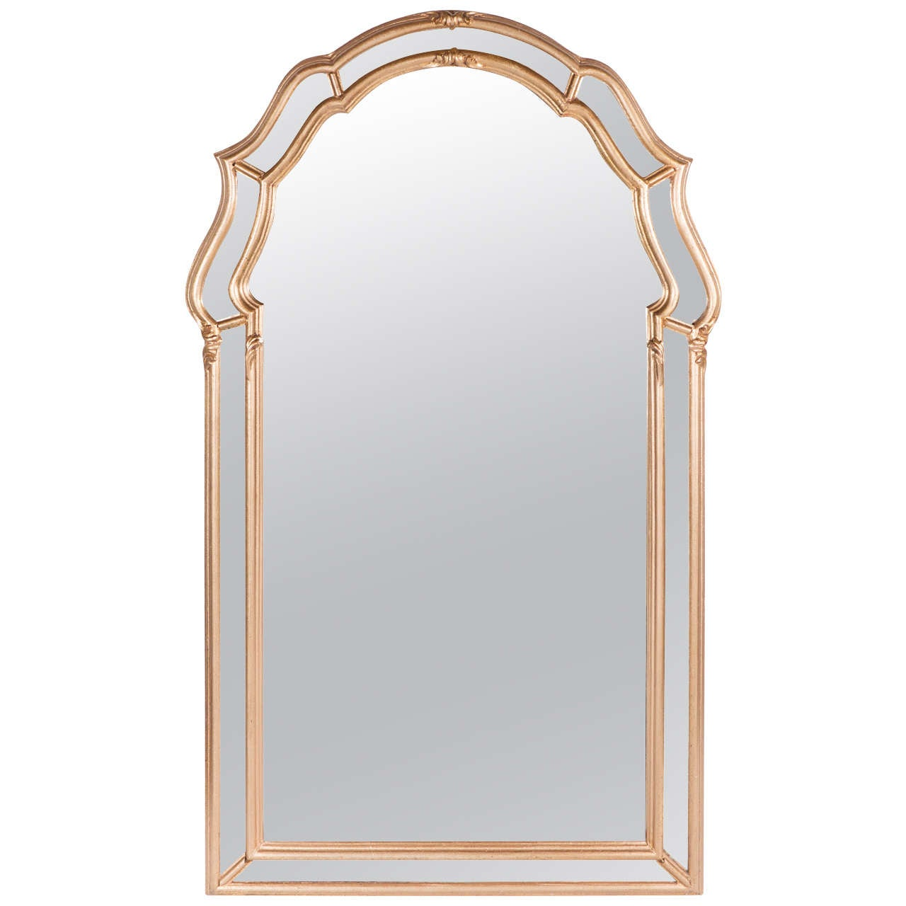 Stunning Mid-Century Modernist Gilt Mirror With Scroll Form Detailing