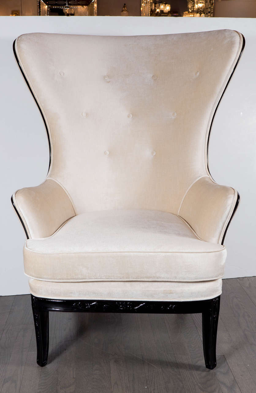 Exceptional Mid Century High Back Chair In Oyster Velvet Upholstery