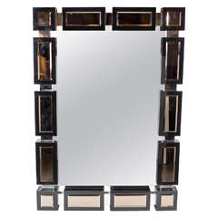 Mid-Century Modernist Mirror with Black Mirrored Border