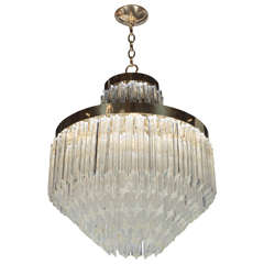 Mid-Century Modernist Cut Crystal Triedre Camer Chandelier with Brass Fittings