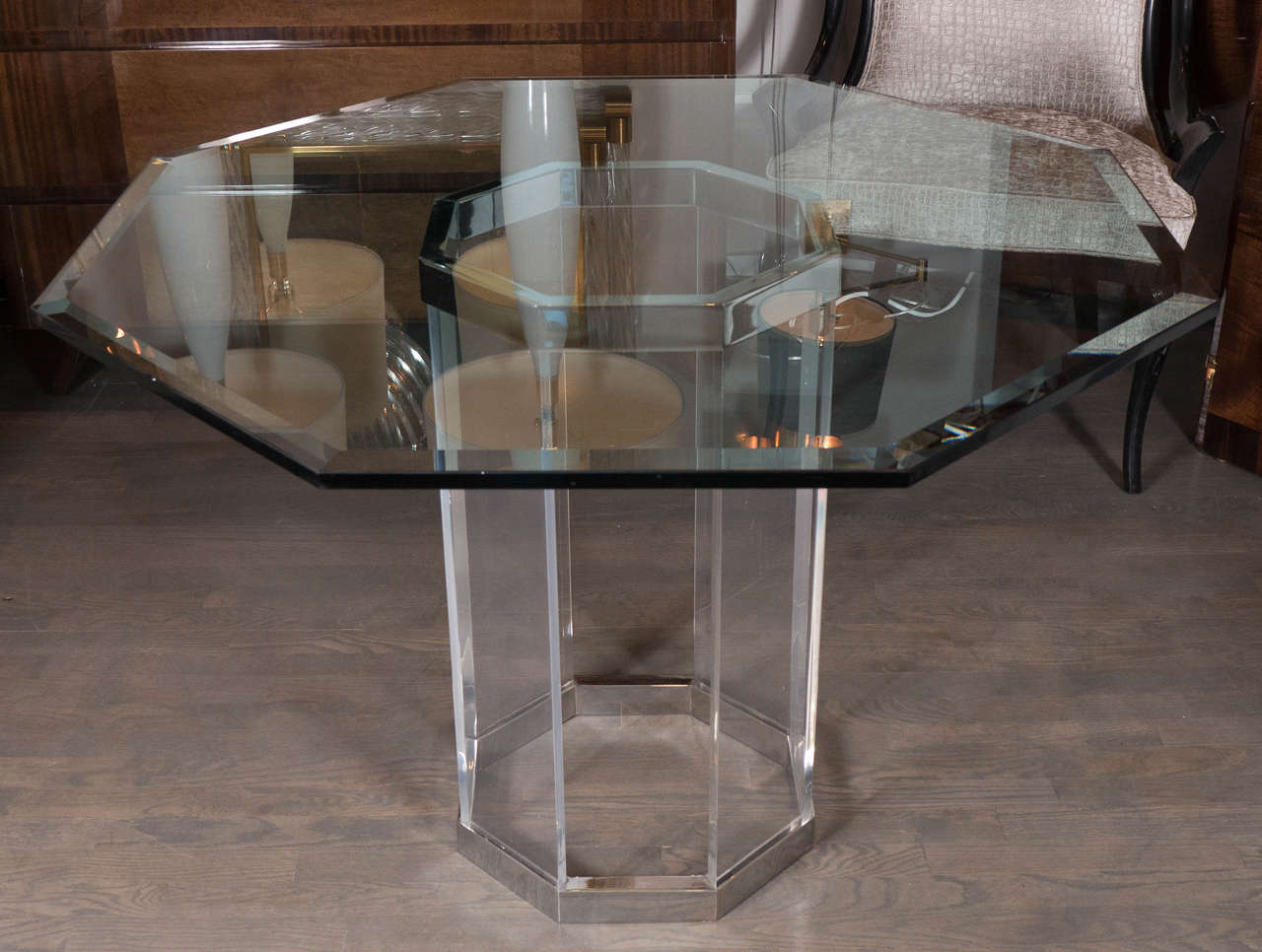 Luxe Mid-Century Modernist Octagonal Dining Table in Chrome ...